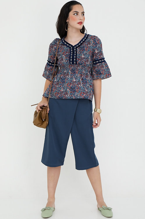 Sienna Cotton Printed Blouse with Flare Out Sleeves