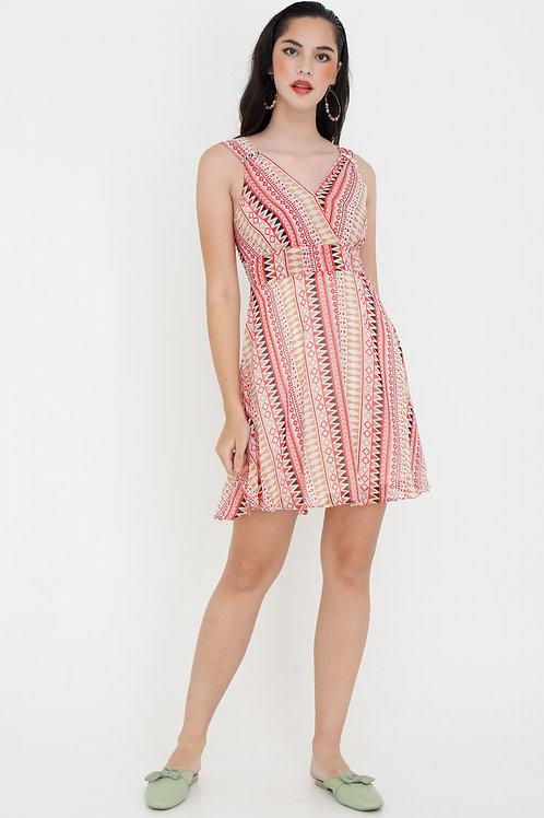 Aluna Short Printed Swing Dress in Cherry Pink