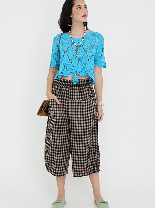 Billowy Cotton Pants in Gingham Print