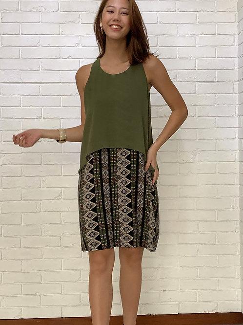 Olive overlay dress