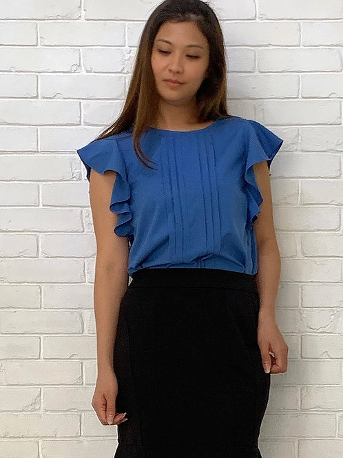 Ruffles Blue Blouse