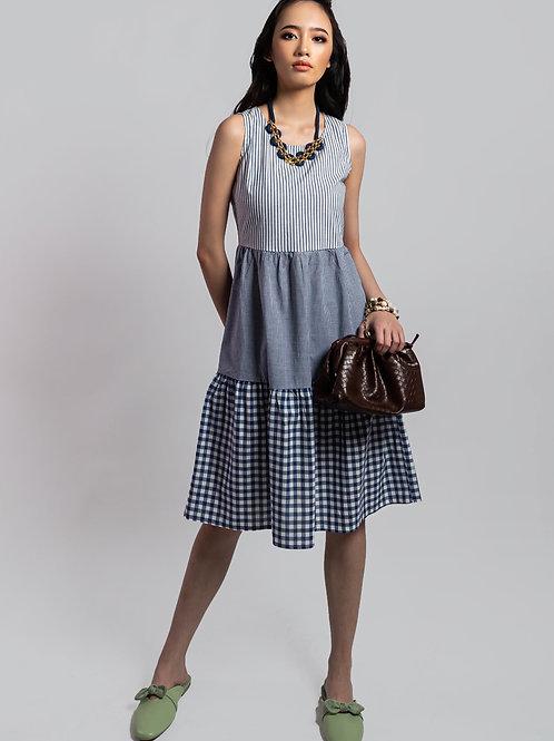 Yelena Blue Gingham Tiered Midi Cotton Dress