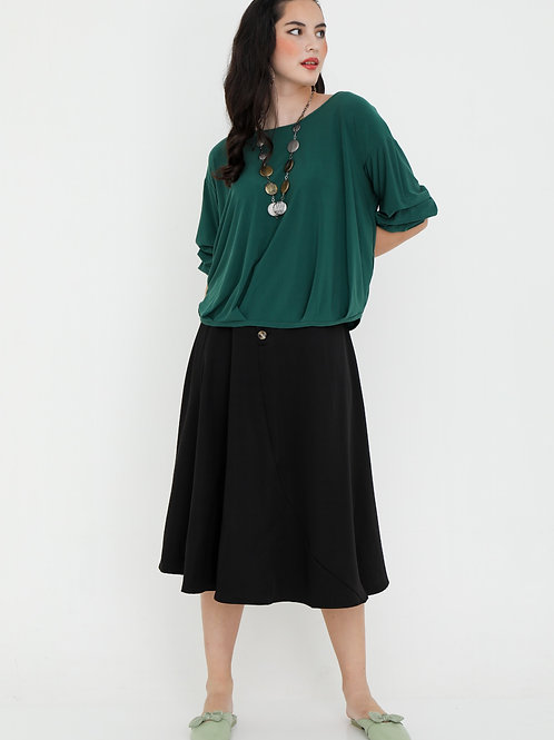 Emmy Blouse With Elbow Ruched Sleeves in Emerald Green