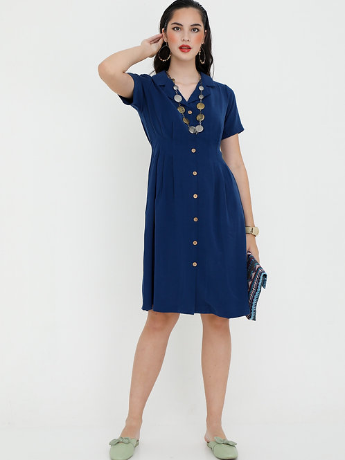Marion French Dress with Lapel Collar