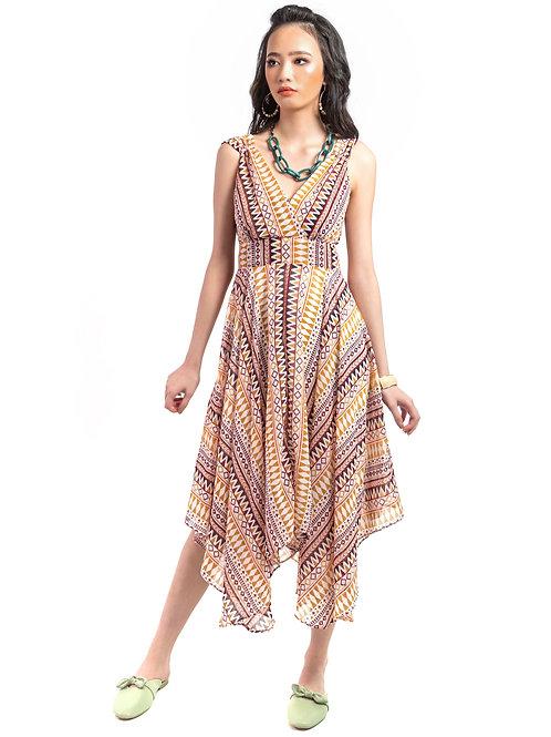 Espa Asymmetric Grecian Printed Long Dress