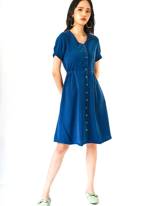 Reina Blu Buttoned Dress