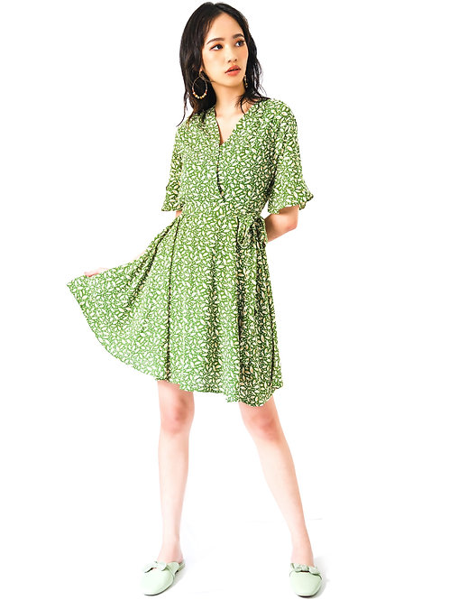 Sage Swing Dress with Flare Elbow Sleeves