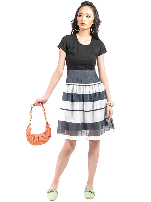 Mikasa Black and White Dress in Block Stripes.