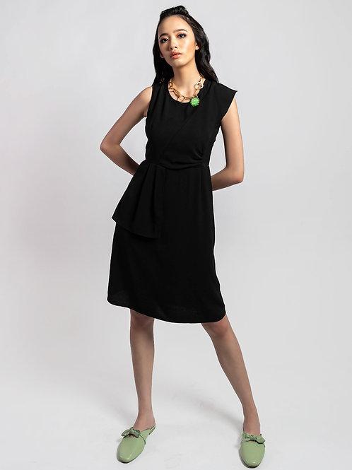 Chloe Asymmetric Sleeves Black Dress