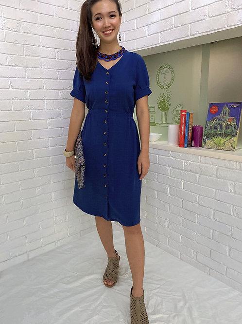 Reina Blu Buttoned Dress