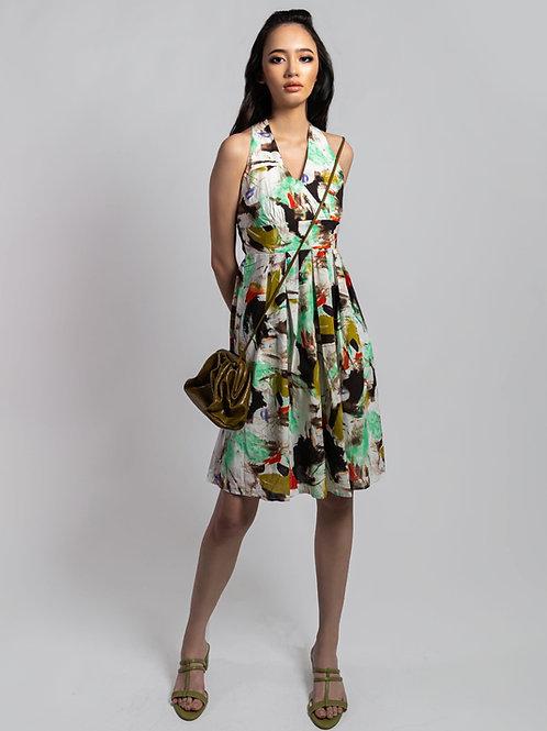 Monet Printed Halter Dress