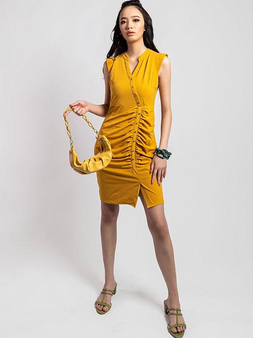 Chinoi Golden Sleevess Bodycon Dress