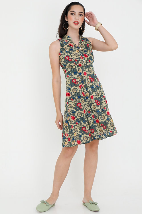 Chinoiserie Printed Midi Dress with Chinese Collar