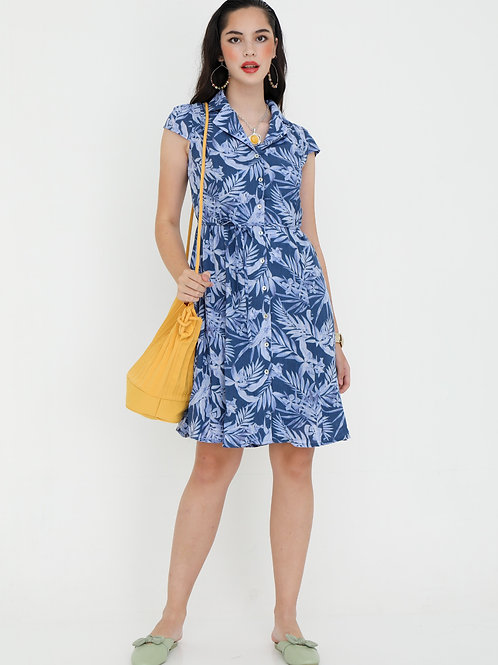 Junie Blue Dress in Leafy Print