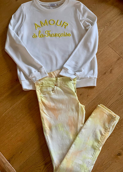 Jean jaune Tie and Die