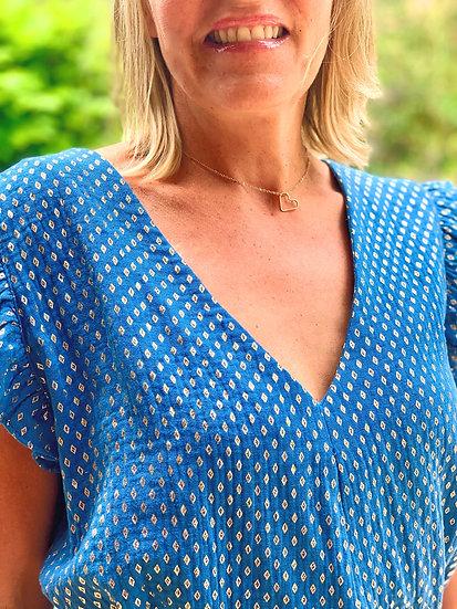 Robe bleue jean Carmen, motifs dorés