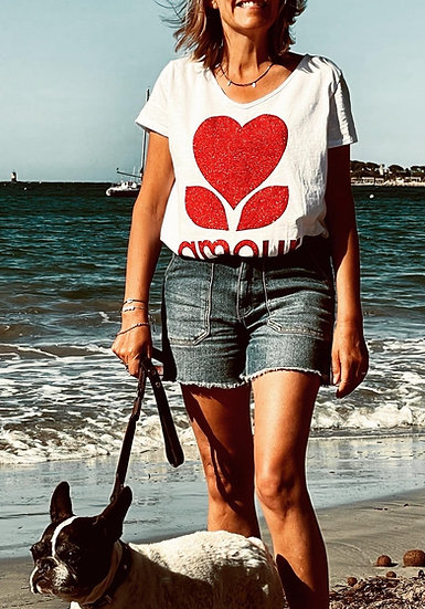 Tee-shirt blanc Amour