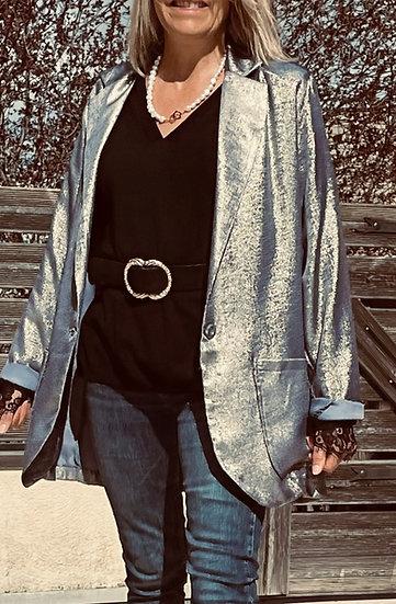 Veste blazer bleue lamée Britney