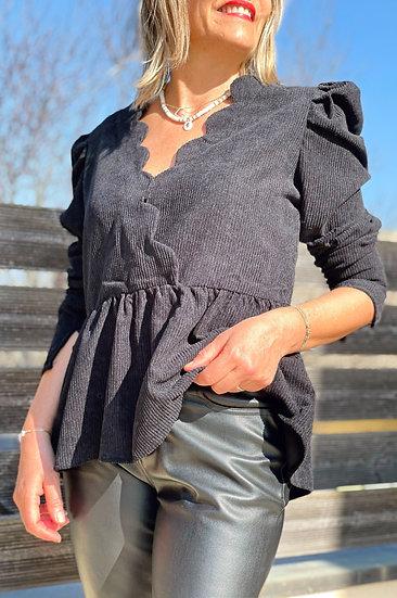 Blouse noire velours Rosie