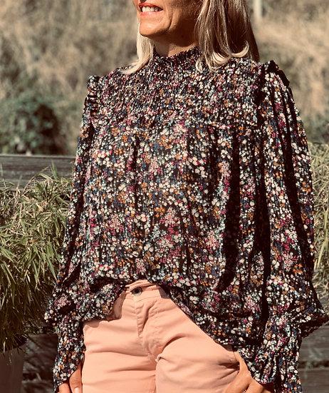 Blouse noire fleurie Julia