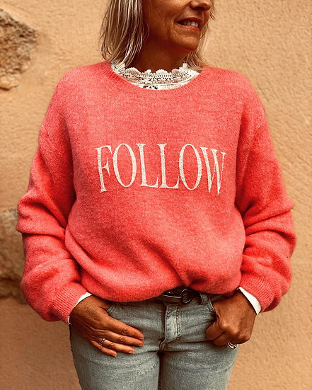 Pull rose corail Couture