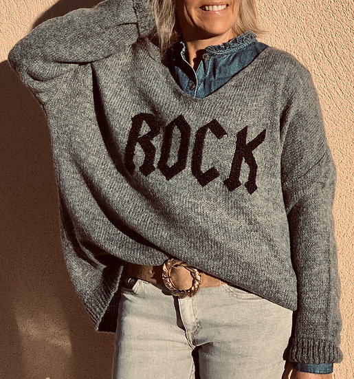 Pull gris Rock