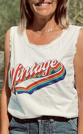 Tee-shirt blanc débardeur Vintage