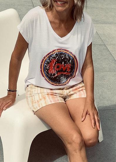 Tee-shirt blanc manches courtes, Love