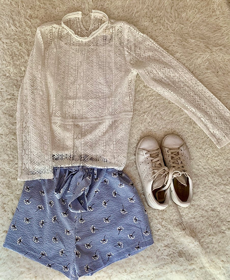 Short bleu Laura fleurs