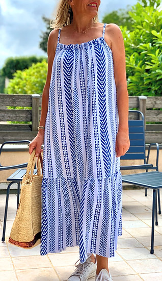 Robe motifs bleus Santorin