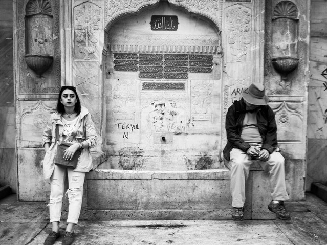 Resting, Galata Square, Istanbul. March