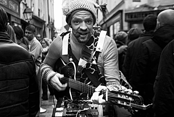 Guitar man in the streets, Paris. Novemb