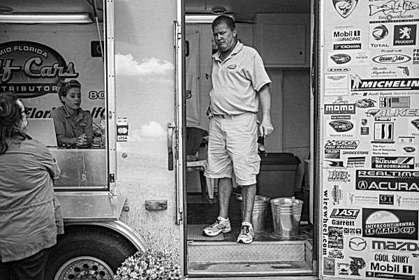 Man in trailer, Sebring. March 18, 2015.