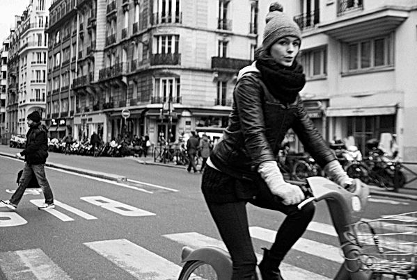 Parisan Woman on Bicycle, Paris. Novembe