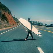 Surfer crossing, Malibu March 20, 2021.j
