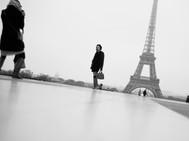 Tourists, Eiffel Tower, Paris. November