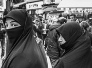 Two Muslim woman, Istanbul. March 26, 20