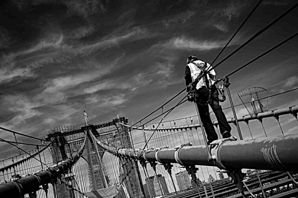 Worker on the Brooklyn Bridge, NY Septem