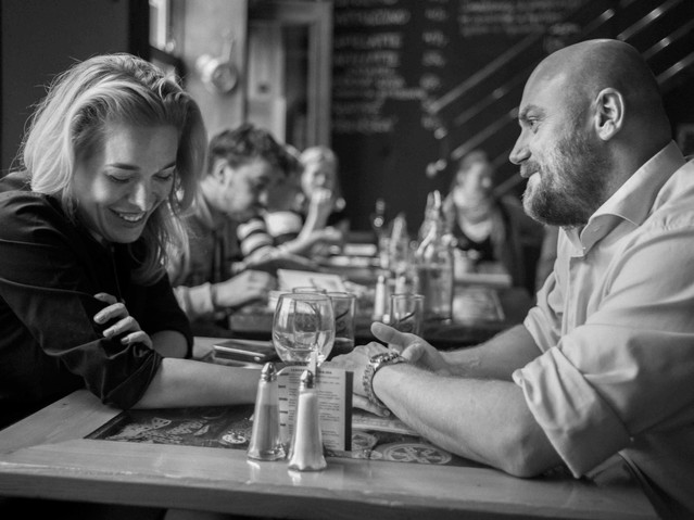 couple at lunch, Prague. August 26, 2014