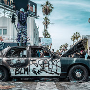 wrecked cop car, Los Angeles. May 30, 20