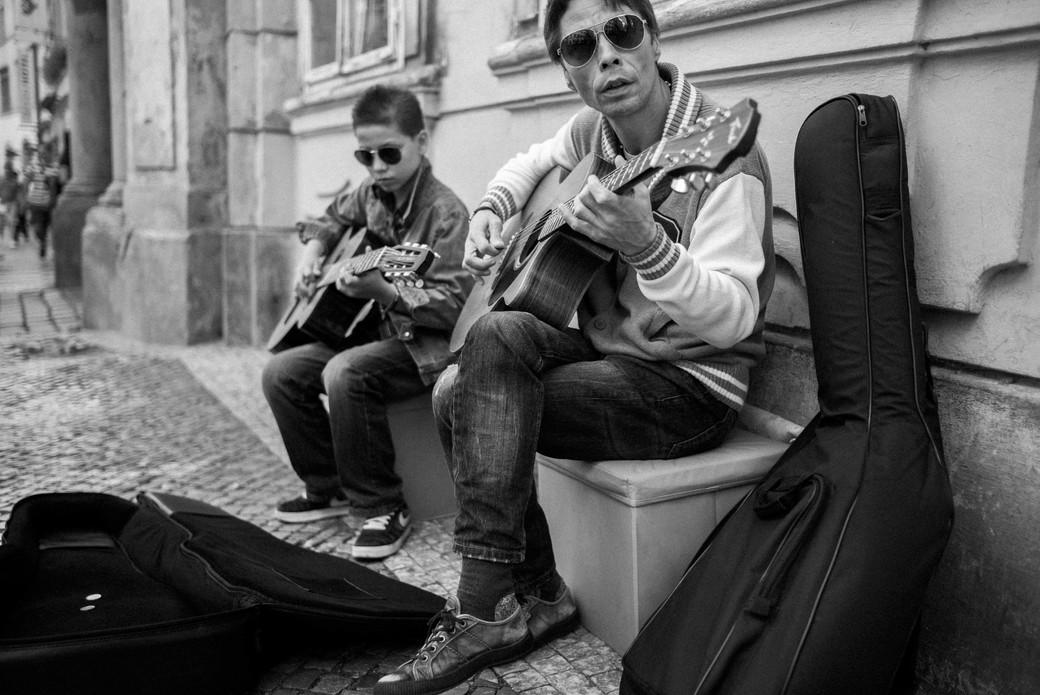 Father Son Street Musicians, Prague. August 28, 2014.jpg