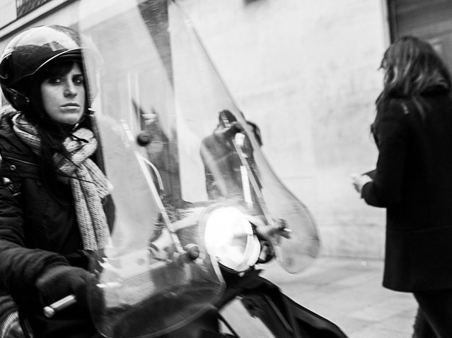 Woman on scooter, Paris. November 24, 20