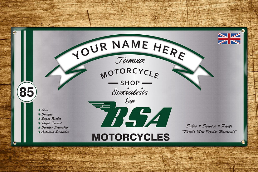 Personalized BSA Motorcycles Banner