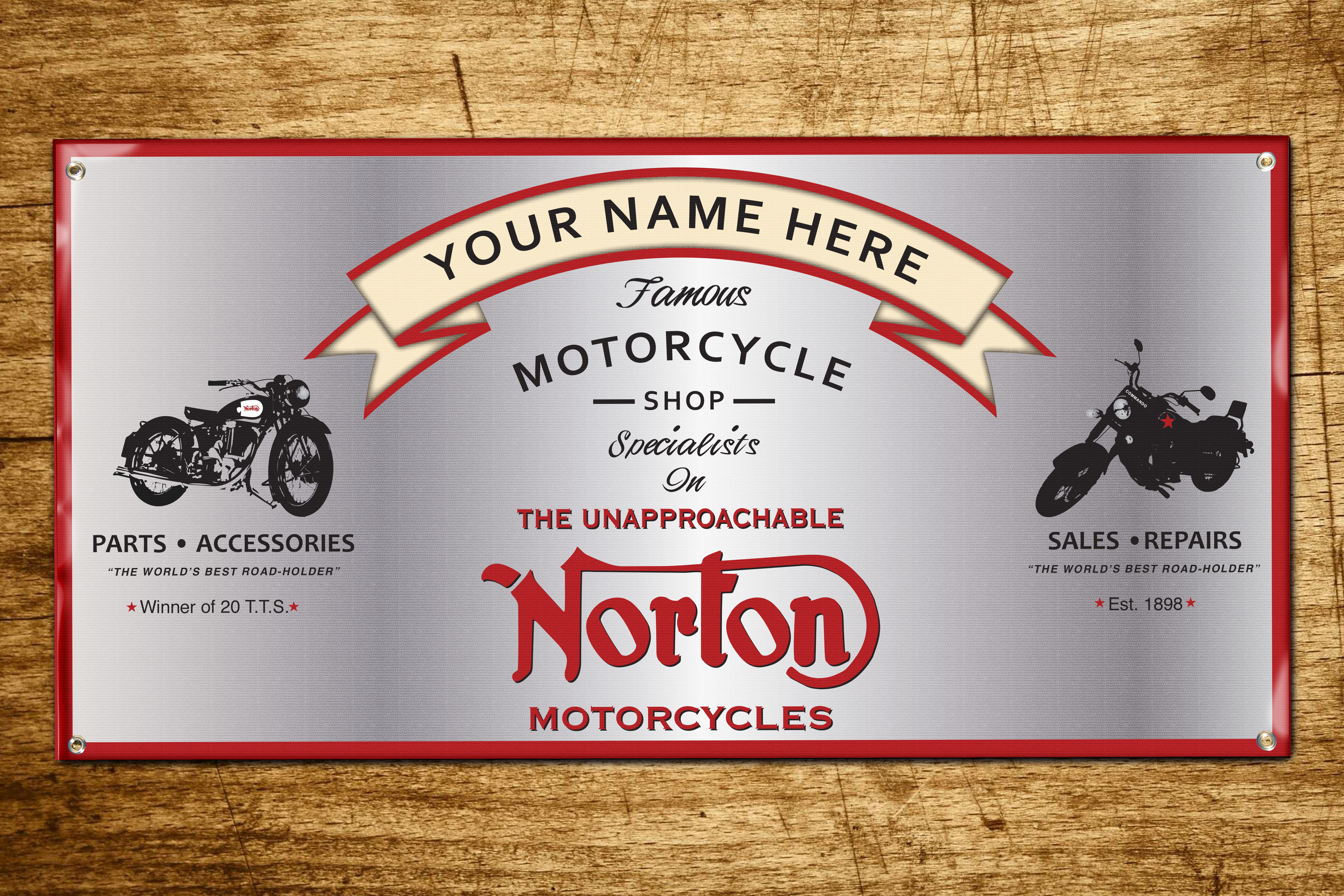 Personalized Norton Motorcycle Shop Banner 2ft x 4ft