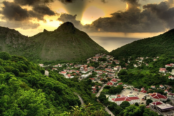 Sunset of the capital of Saba, The Bottom