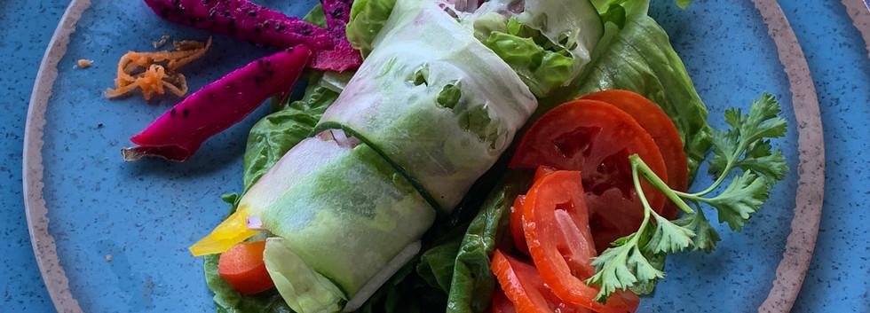 Cucumber-rolled garden salad w/ dragon fruit