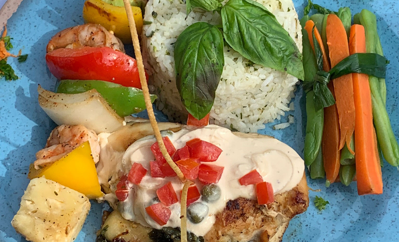 Spinach stuffed chicken, Caribbean shrimp kebob, cilantro rice