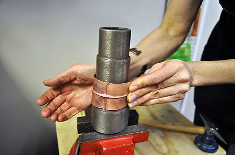 Metal forming on a stake