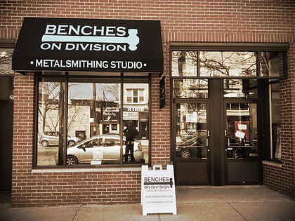 Benches on Division store front
