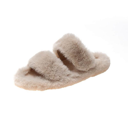 Nude Plush Double Banded Slippers